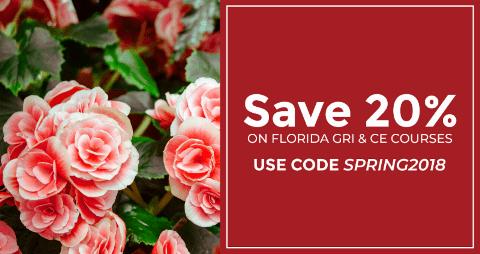 Florida GEI & CE Course Coupon to save 20%. Use code SPRING2018.